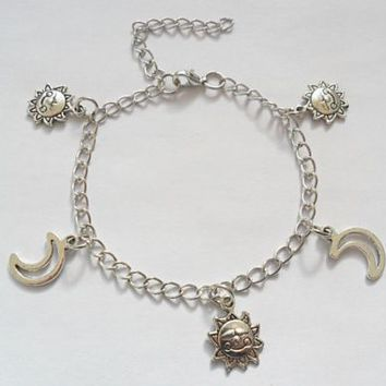Sun and moon charm bracelet / anklet, sun and moon bracelet 7 inches long | eBay