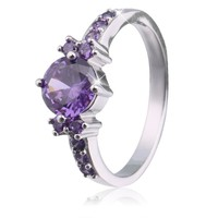 Fashion Purple Silver Jewelry zircon Plated rings for women engagement wedding female rings cute jewelry