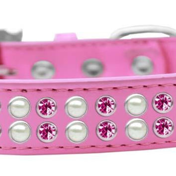 Two Row Pearl and Pink Crystal Size 12 Bright Pink Dog Collar
