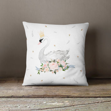 Crowned Swan Throw Pillow