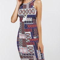 Ethnic Print Backless Sleeveless Dress