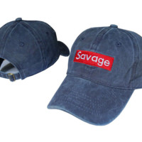 Navy Blue Savage Embroidered Adjustable Cotton Baseball Cap Hat