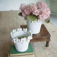 Clay Flower Pots with Flower Detail (Set of 2)