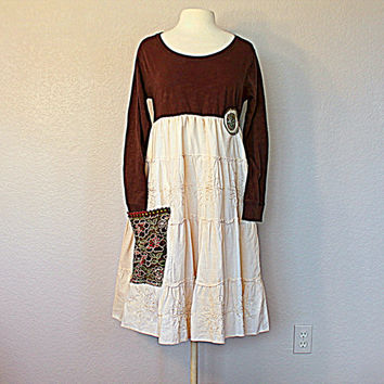 Boho Gypsy Clothing / Women's Earthy Sustainable Fashion / Ladies Upcyled Dress