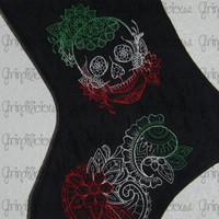 Embroidered Holiday Color Sugar Skull Day Of The Dead Quilted Christmas Stocking