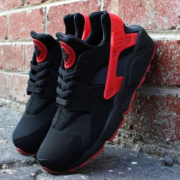 """""""NIKE""""AIR Huarache Running Sport Casual Shoes Sneakers Black&Red"""