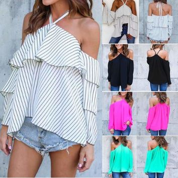 Women Cold Off Shoulder Top Long Sleeve Casual Summer Shirt Loose Blouse T-shirt