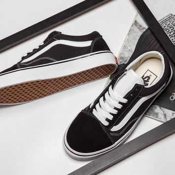 PEAPON Vans Old Skool Black And White Low Tops Flats Shoes Canvas Sneakers Sport Shoes 36-44
