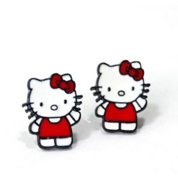 Pretty animal Hello Kitty Cute cat Cartoon Earring Women Girl Kids Piercing Ear Stud Earrings bijoux Jewelry Trinket Gift 2018