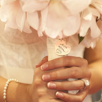 Heart Shaped Wedding Bouquet Charm - Memorial Jewelry Your Actual Loved Ones Writing Silver Pendant Made to Order