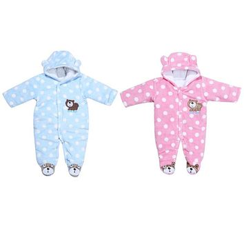 Winter Baby Kids Warm Coral Velvet Clothes Long Sleeve Romper Jumpsuit Newborn Girl Boy One Piece Hooded Outfits Infant Clothing