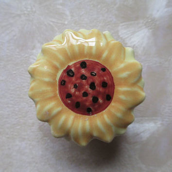 Nursery Dresser Knobs Sunflower Yellow Orange Black / Woodland Nature Inspired Cottage Chic Baby Cartoon Ceramic handle Pulls Hardware