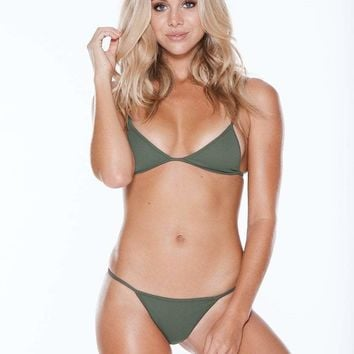 MGS Low Tide Olive Ribbed Bikini Set