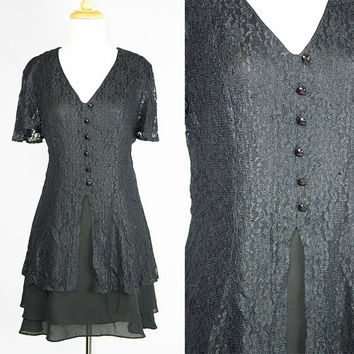 Vintage 90's Black lace Baby doll Grunge Dress