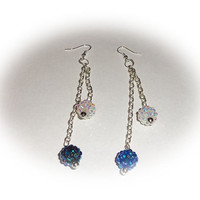 White and blue Shamballa beads with silver chain dangle earrings