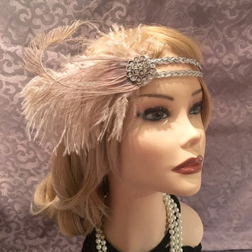 1920s style gatsby flapper feather headpiece headband head piece band Crystal elastic silver mauve 20s inspired art deco headdress (694)