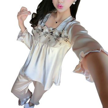 Spring Autumn Women Casual Sleepwear Nightwear Silk Embroidered Pajamas Long Sleeve Nightshirt Suit Nightgown Sets LM93