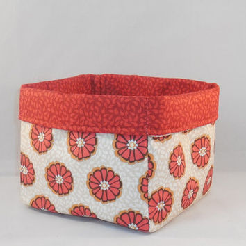 Red-Orange and White Floral Fabric Basket For Storage or Gift Giving