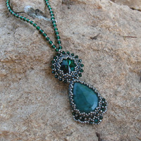 Emerald pendant with crystals Swarovski and silver plated Japanese Seed Beads