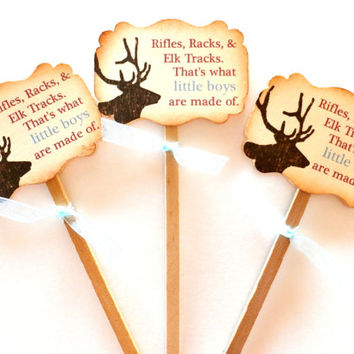 Rifles, Racks & Elk Tracks. Thats what little boys are made of - Baby Shower / Boys Birthday Cupcake Toppers