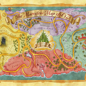 Wizard of Oz Marvelous Map Poster 24x36