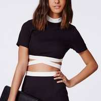 Missguided - Tereza Contrast Bandage Waist Crop Top Black