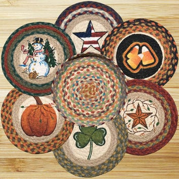 All Season Round Trivets in a Basket (Set of 7)