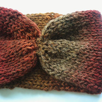 Harvest Moon Knit Headband/Earwarmers - READY TO SHIP - Fall accessory, burgundy, orange, brown,