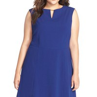Plus Size Women's Tahari Hardware Detail Sleeveless Fit & Flare Dress,