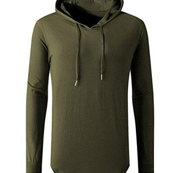 OLRIK Men's Hipster Hip Hop Hoodie Side Zipper Tshirt