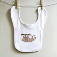 Sloth baby burp bib for baby boy or baby girl
