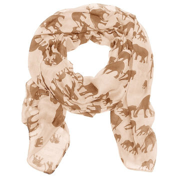 Mama and Baby Elephant Scarf in Cream and Tan