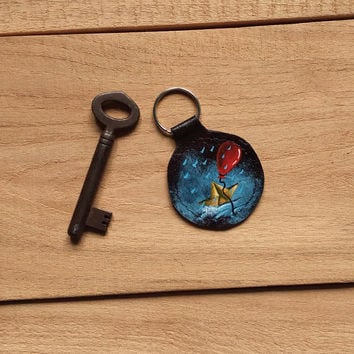Stephen King keychain / It keyring / Pennywise keyring / Pennywise the dancing keychain / Horror / Red balloon / Upcycled leather