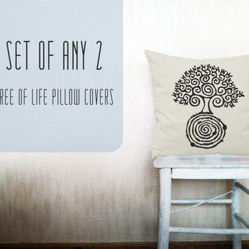 Tree of life pillow decorative throw pillow cover set of 2 cotton toss pillow case hand painted cushion bedding bedroom set 18x18 inches