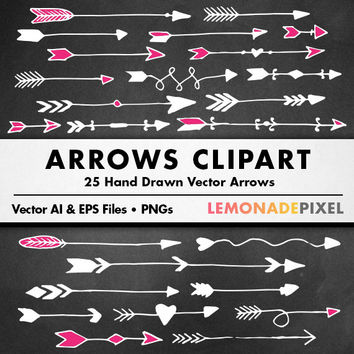 Chalkboard Arrows Clipart - Handdrawn clip art, tribal clipart, feather vectors, pink arrows, instant download, digital elements