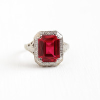Vintage 10k White Gold Art Deco Created Ruby Ring - Antique Size 5 3/4 Filigree 1920s Red Pink Emerald Cut Gem July Birthstone Fine Jewelry