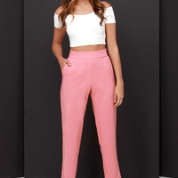Trouser We Go Blush Pink High-Waisted Pants