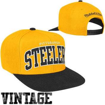 Mitchell & Ness Pittsburgh Steelers Classic Arch Snapback Adjustable Hat - Gold/Black
