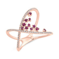 0.19ct Diamond & 0.20ct Ruby 14k Rose Gold Lady's Ring