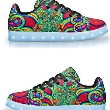PSYCHEDELIC CAT EYE BY ALEX ALIUME - APP CONTROLLED LOW TOP LED SHOES