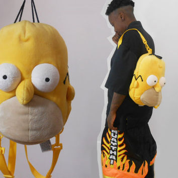 Vaporwave/ 90s Backpack/ Bart Simpson/ Homer Simpson/ Plush Backpack/ Cartoon Bag/ Cartoon Backpack/ Simpsons/ Mini Backpack/ Circle Purse