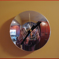 """VW Clock is a Repurposed Volkswagen 6"""" Center Hubcap for Mancave Industrial Decor"""