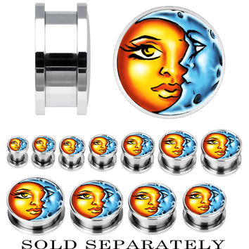 Steel Celestial Sun and Moon Screw Fit Plug