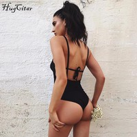 Hugcitar backless lace up bodycon solid bodysuit 2017 women christmas party body suit stretchy sexy lady sleepwear