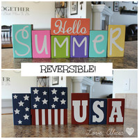 Summer Blocks/July 4th Blocks - Reversible Set <3