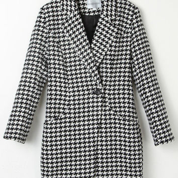 Black and White Houndstooth Notched Collar Long Sleeve Woolen Coat