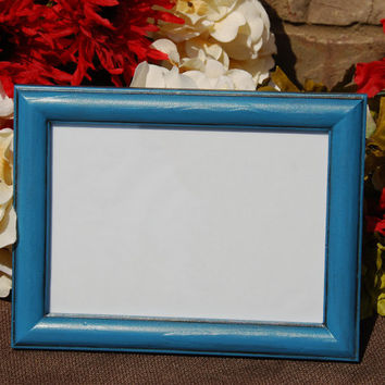 Rustic picture frame: Vintage dark sea blue 5x7 hand-painted decorative wooden tabletop photo frame with easel back