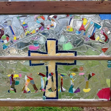 "Stained Glass Mosaic Window Art / Sun Catcher ""Bless This Family"" OOAK Handmade, Unique Gift Idea, Mothers Day, Cross, Christain, Faith"