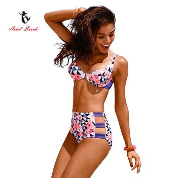 Ariel Sarah Brand 2017 Hot High Waist Bikini Sexy Swimwear Women Flora Print Bikini Set Bathing Suit Push Up Swimsuit Q011