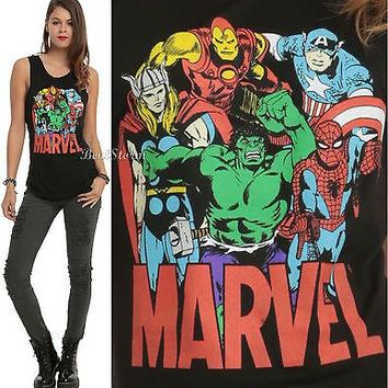 Licensed cool Marvel  AVENGERS Group Logo Muscle Tank Top JRS L-XL Captain America NEW